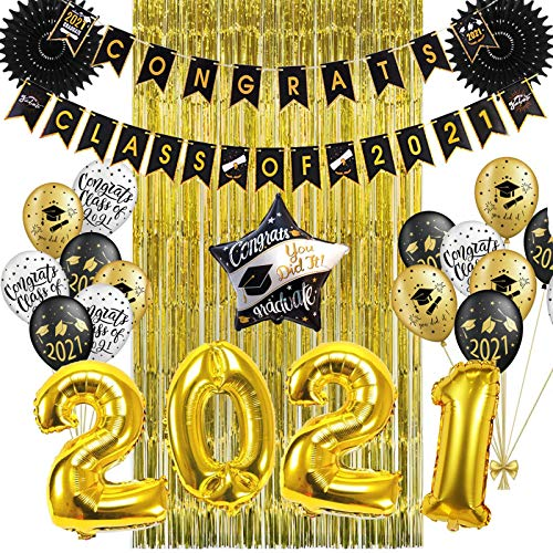 Party Decorations 11Pcs Party Decorations 2021 Gold Graduation Backdrop Latex Balloons Fringe Tinsel Curtain Class of 2021 Banner Decoration