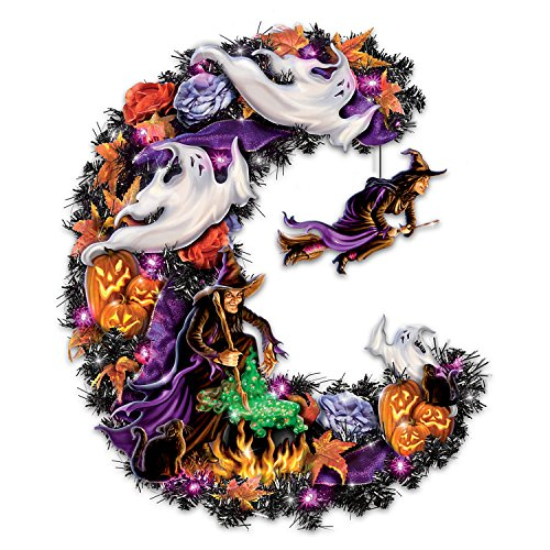 Halloween Witch Ligh Up Wreath with Spooky Sounds