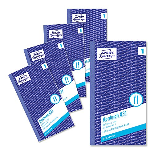 AVERY Zweckform 831-5 Bonbuch (Kompaktblock mit je 300 Bons, Kellner-Nr. 1, 2x50 Blatt) 5 Bücher rosa/weiß