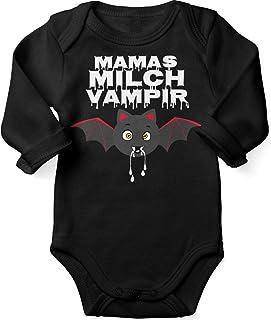 Mikalino Babybody mit Spruch für Jungen Mädchen Unisex Langarm Mamas Milch Vampir | handbedruckt in Deutschland | Handmade with Love
