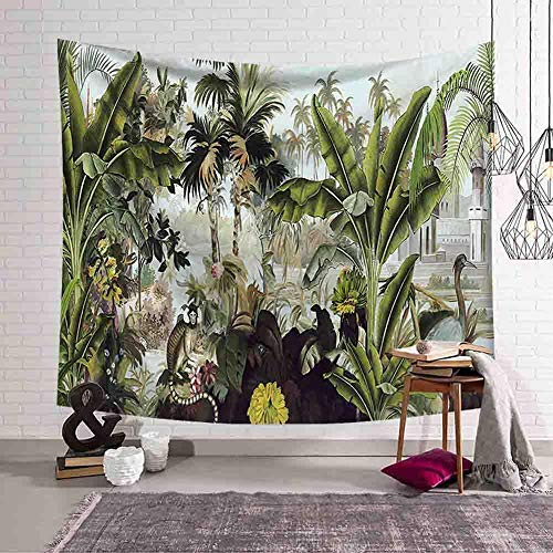 WERT Green plant wall hanging tapestry mandala bohemian landscape wallpaper art cloth palm leaf decorative tapestry A3 180x200cm
