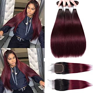 Ombre Human Hair Weave Peruvian Hair Bundles with Closure 1B/99J Straight Bundles with Lace Closure 9A Burgundy Human Remy Hair Weave 3 Bundles with Lace Closure (121212+10, bundles with closure)