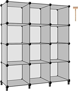 TomCare Cube Storage 12-Cube Closet Storage Shelves Cube Organizer Cube Shelf Storage Cubes Plastic Bookshelf Bookcase DIY Square Closet Cabinet Organizers Shelves for Bedroom Office Living Room, Grey