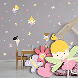 Fairies Flowers Hearts and Butterflies Wall Decals 61pcs - Rooms and Stickers