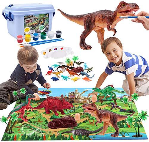 Dinosaurio Juguetes Dinosaurio Figura con Dinosaurio Tapete Juego Dinosaurio Figura para Pintar Dinosaurio Juguetes Educativo Creativo Regalo para Niños Niñas 3 4 5 6 7 8 años