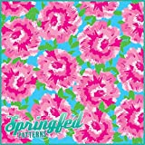 LP Inspired PINK CARNATIONS PATTERN Craft Vinyl 3 Sheets 6x6 for Vinyl Cutters