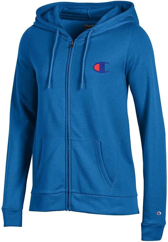 Champion Reverse Weave Logo Women's (Varsity bluee) University Fleece FullZip Hoodie