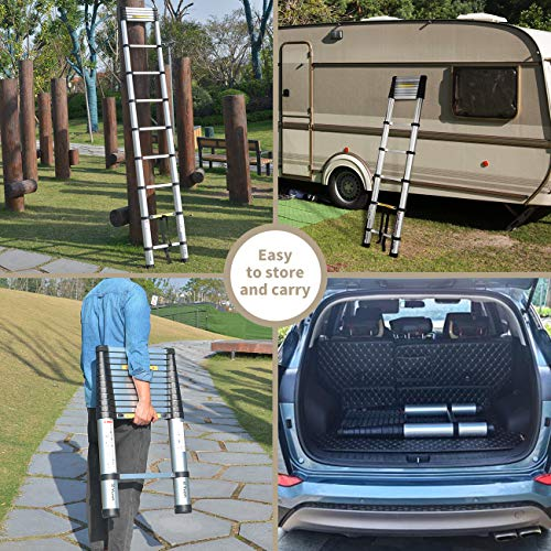 Yvan Telescoping Ladder,12.5 FT One Button Retraction Aluminum Telescopic Extension Extendable Ladder,Slow Down Design Multi-Purpose Ladder for Household Daily or Hobbies,330 Lb Capacity