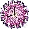 コスモスの調和を象徴する鮮やかなアジアの花の幾何学的なアイコン壁掛け時計 電池式 静音 10インチ ビンテージ カラフルなキッチン壁時計 静音 アナログクォーツ 子供部屋 リビングルーム バスルーム リビングルーム装飾
