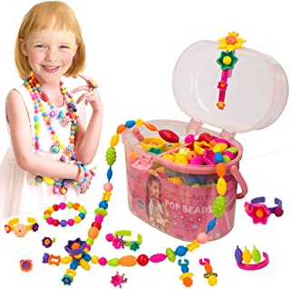 IQKidz Pop Beads, Kids' Jewelry Making Kits - Arts and Crafts for Girls Age 3, 4, 5+ Year Old Toys, DIY Necklace, Bracelet and Headbands, Fashion Fun Creativity Christmas Birthday Gifts (520+ PCS)