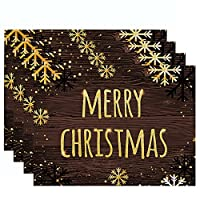 クリスマスランチョンマットランチョンマット 4点セット、ランチョンマットセット、キッチン・ダイニングルーム用耐熱プレースマット32x42cm,E