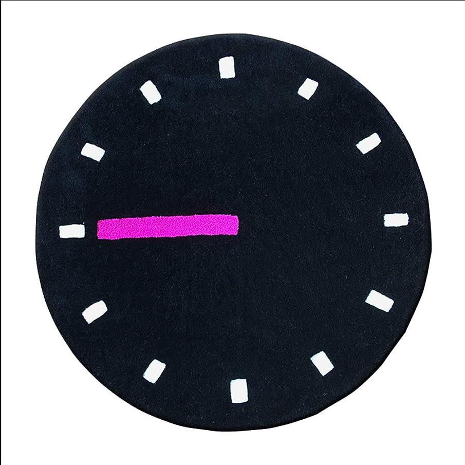 脚本虚弱ペデスタルHBJP 創造的な時計のカーペットファッションリビングルームラウンドカーペットシンプルなベッドルームのベッドサイドのコンピュータチェアの毛布 じゅうたん (色 : ブラック, サイズ さいず : 100CM)