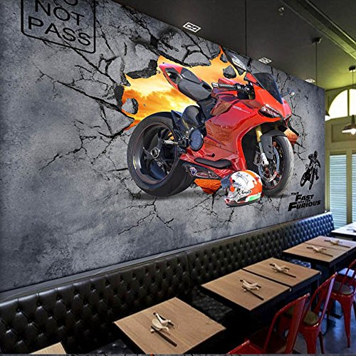 Yosot Custom 3D Tapeten Motorrad Broken Wall Dekoration Bar Cafe Wand Wandmalerei-200Cmx140Cm