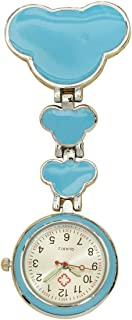OLizee Cute Alloy Nurses Lapel Watch Clip-on Pendant Fob Brooch Pocket Watch with Luminous Hands, Blue