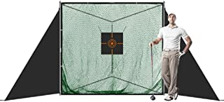 """JaeilPLM 7' x 6'8"""" x 7' Portable Golf Practice Hitting Net with Triangle Stand, Practice Golfing Indoors and Outdoors, Safety Wings Target Aid and Carrying Bag"""