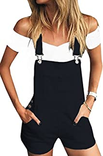 Womens Distressed Denim Bib Short Jumpsuits Casual Shortalls Overalls with Pockets