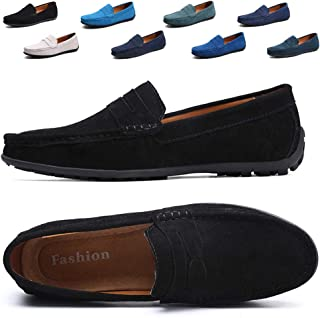 TSIODFO Mens Driving Penny Dress Loafers Suede Leather Driver Moccasins Slip On Shoes