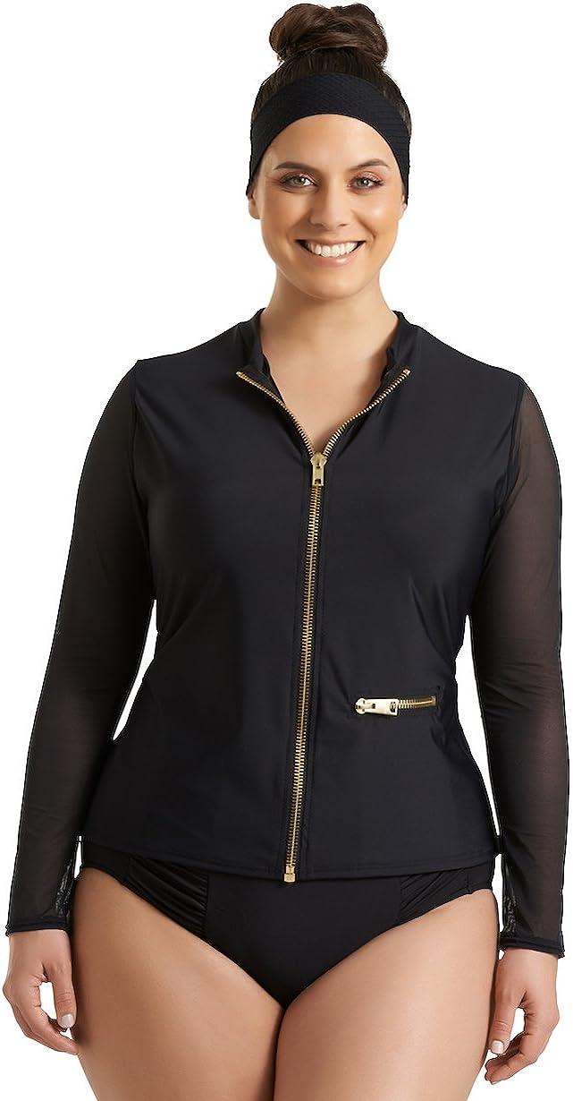 Timothy Snell Women's Plus Size Harper Mesh Front Zip Rashguard - Ladies' Long Sleeve Swimwear Top