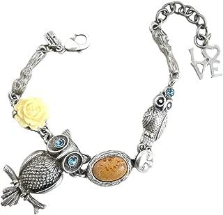 Night Owl Bracelet : Pewter, Swarovski Crystal & Desert Jasper