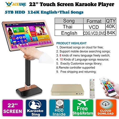Find Bargain 5TB HDD 124K English CDG,VCD,DVD+Thai VCD Songs Touch Screen Karaoke Machine,Player, Ju...