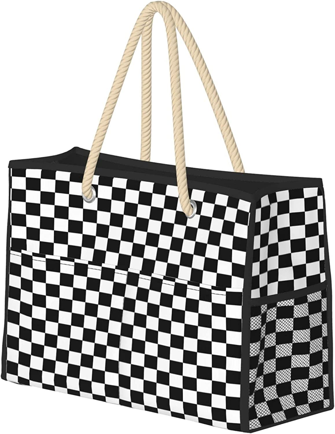 Checker Board Women Beach Tote Bag Challenge the lowest price of Japan Beauty products ☆ With Hand Zipper Travel Large