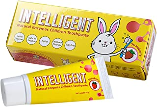 INTELLIGENT Natural Saliva-Enzymes Kids Toothpaste – Premium Children's Toothpaste - Fluoride Free, Safe to Swallow, Fights Plaque and Tartar - White Healthy Teeth, 2 pcs x 1.37 oz, Strawberry flavor