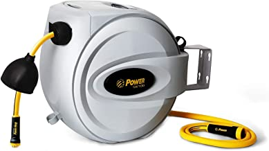 "Power Retractable Hose Reel 1/2"" x 100 ft, Super Heavy Duty, 500 PSI Burst Strength, 3 Layer Hybrid Hose, Slow Return System, Exclusive Twist Collar and The Patented Nozzle Protector"