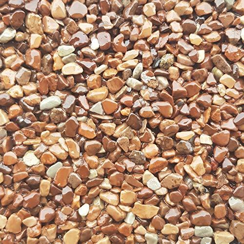25Kg Steinteppich Set Marmorkies Bodenbeschichtung Steinboden W730 - Marrone 1,8-3mm - 2qm