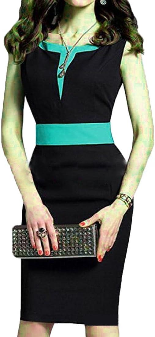 XTX Women's Round Neck Wear to Work Slim Fit Business Bodycon Pencil Dress Green US XS