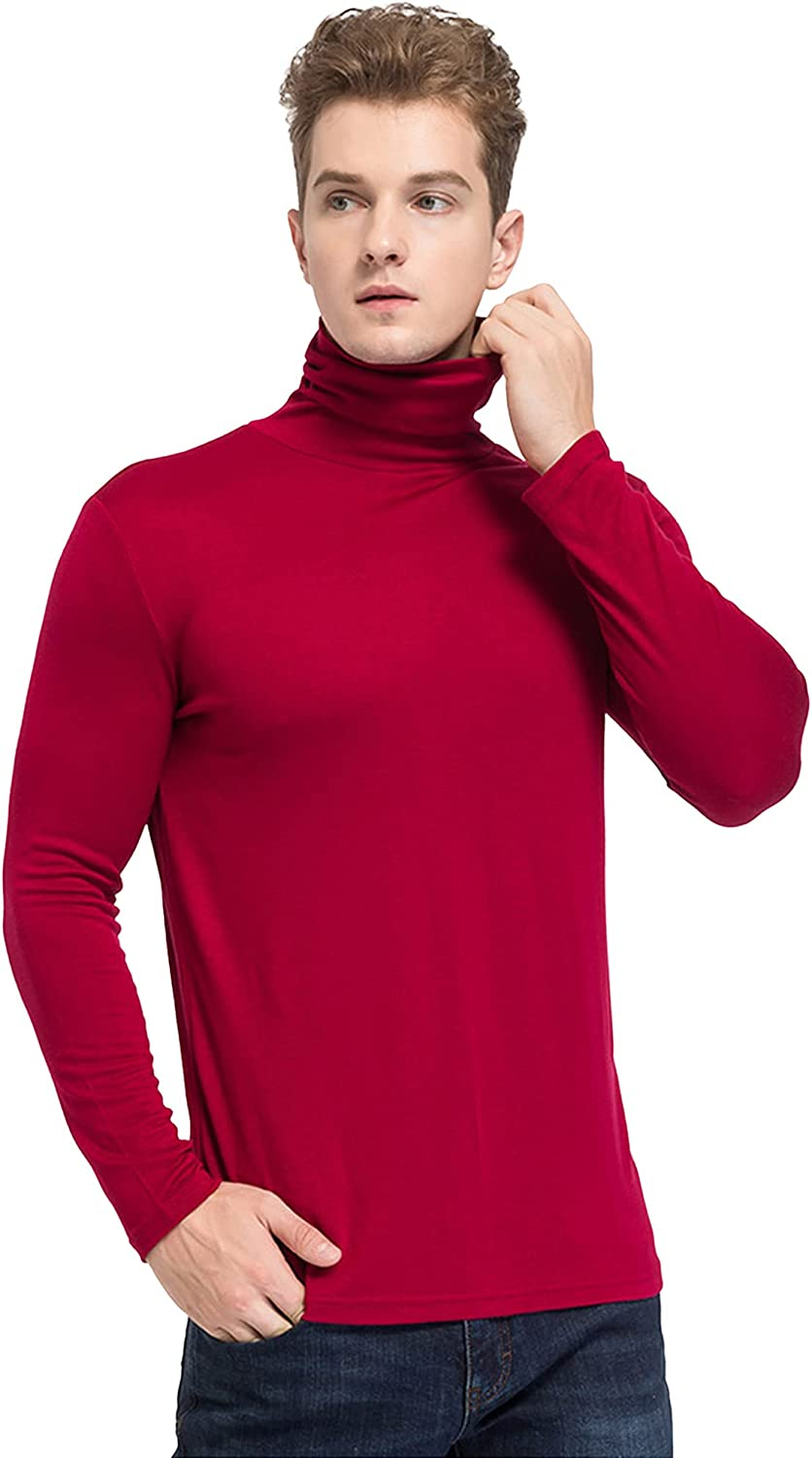 Men's Thermal Underwear Mulberry Silk High Neck Stretch Breathable Silk Cashmere Business Base Layer Long Sleeve Warm Top Quick Dry Base Layer,Red,Large