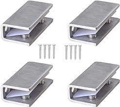 4 Stks Geborsteld 304 RVS Effect Glasklem voor Buis & Leuning Balustrades, Massief Glas Klem Glas Scharnier Glas Plank Ond...
