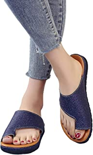 Bunion Sandals, Women Sandal Comfy Platform Wedges, Slip Wear Resistant Summer Beach Travel Soft Pu Leather Bunion Relieve Foot Pain