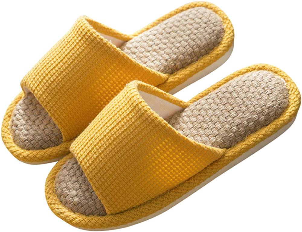 JIFVIK House Slippers, Indoor and Outdoor Cotton Flax Slippers, Women's and Men's Casual Soft Non-slip Open Toed Mute Slippers