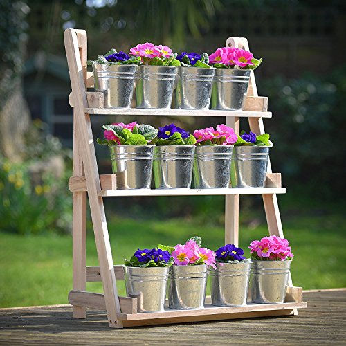 Plant Theatre - Three Tier Herb & Plant Theatre in Natural Hardwood. Ideal Fathers Day Gardeners Gift