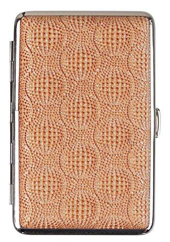 LK Trend & Style Pitillera Bali para 14 cigarrillos, 100 mm y Slim para mujer con efecto brillante, marco cromado y goma elástica, caja de plástico – varios diseños a elegir (dorado)