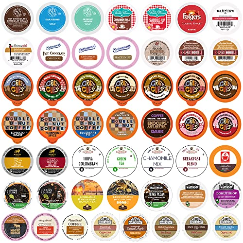 Variety Pack of Coffee, Tea, and Hot Chocolate - Great Sampler of Coffee, Tea, and Hot Cocoa for Keurig K Cups Machines - Great Gift for Coffee Lovers, Huge 50 Pack of Pods - No Duplicates