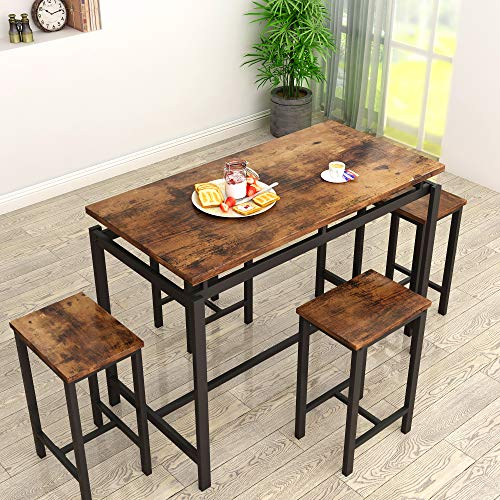 """MIERES Dining Table Set for 4 - 5pcs Kitchen Counter with Bar Stools, Sturdy Metal Frame Home 