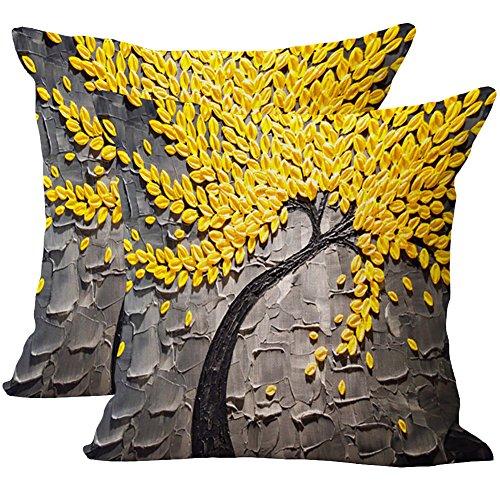 JOTOM 2 Stück weiche Baumwolle Leinen Kissenbezüge Abdeckung Ölgemälde-Baum-Blumen Kissenbezug 45 x 45 cm (Graue gelbe Blätter)