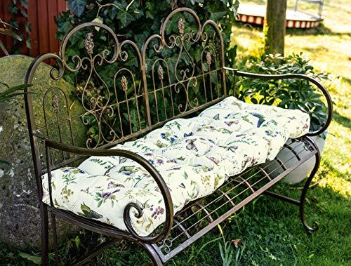 Dekoleidenschaft Auflage Sommerwiese 120x40x8 cm, Wasser- und schmutzabweisend, faltbar, für Gartenbank, Palettenmöbel