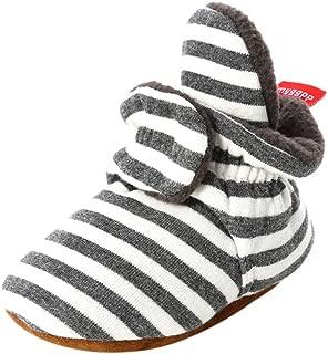 Weixinbuy Toddler Baby Boy's Girl's Stripe Soft Sole Fleece Winter Warm Boots Shoes Cozy Stay On Slipper