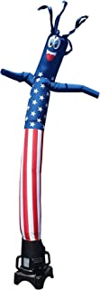 American Flag USA 8 Foot Tall Inflatable Tube Man Air Powered Waving Puppet, Air Blower Motor Included with 6 Foot Dancer by Feather Flag Nation