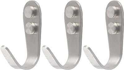 Stainless Steel Screw Single Hooks, Wall Mount Hooks, Coat Hooks, Hat Hooks, Bath Towel Hook, Kitchen Hooks - Pack of 10 (2.63x0.43 Inch)