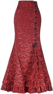 97a9ab9e6ab Conquro-falda de Cola de pez con Volantes Cintura Correas Falda Larga De  Las Mujeres