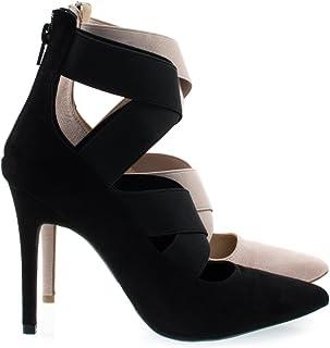 High Heel Dress Pump Ankle High Booties w Criss Cross Elastic Straps