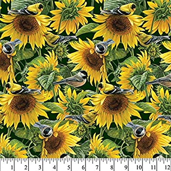 Sunflowers and Birds Cotton Fabric by The Yard