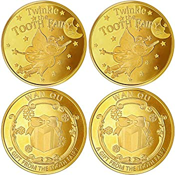 Tooth Fairy Coin Golden Zinc Alloy Coin Reward Collection Coin Experience Coins for Lost Tooth Kids Party Decorations Supplies  4 Pieces
