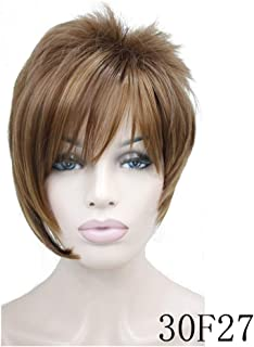 Feing Women's Wigs Asymmetric Inclined Bangs Short Straight Bob Natural Synthetic Full Wig 4 Color-in Synthetic None,Auburn,6inches