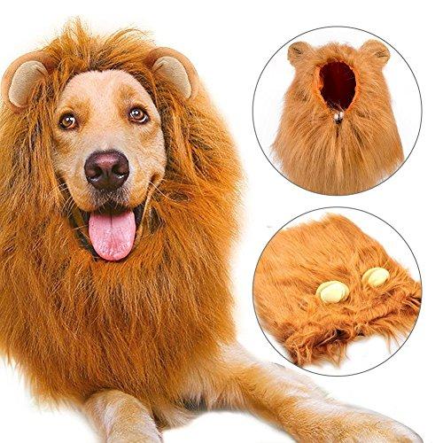 Peluca de León Para Perro, Etpark León melena pelo peluca con orejas Gato Cachorro Mascotas Ropa Sombrero Dress Disfraces Costume Para Navidad Fiesta (Brown)