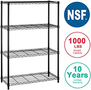 4 shelf Wire Shelving Unit Garage NSF Wire Shelf Metal Large Storage Shelves Heavy Duty Height Adjustable Commercial Grade Steel Utility Layer Shelf Rack Organizer 1000 LBS Capacity -14x36x54,Black