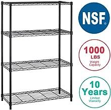 4-Shelf Storage Shelves Heavy Duty Shelving Unit for Kitchen Metal Shelves Garage Organizer Wire Rack Shelving Storage Unit ShelfAdjustable Utility NSF Certification Commercial-14x36x54 Inch